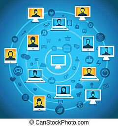 Vector global communication concept - computers with people...