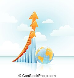 vector global growth bar graph - vector global business...