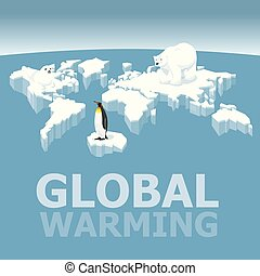 Melting Ice Map Of World - Vector Global Warming Concept....