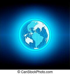 vector globe blue technology