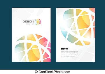 Vector globe brochure template. Abstract arrow design and creative magazine idea, blank, book cover or banner template, paper, journal. Stock illustration.