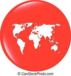 vector Globe icon, earth world map on web button