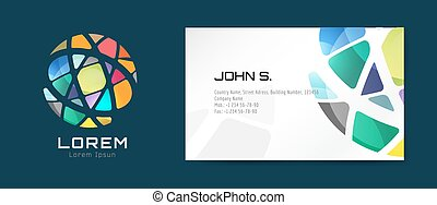 Vector globe logo business card template. Abstract arrow design and creative identity idea, blank, paper. Stock illustration. Isolated on white background