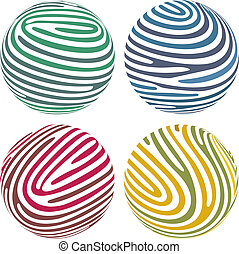Vector globes composed of fingerprint-like stripes