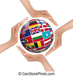vector., globo, bandiere, tenere mani, world.