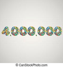 vector, globos, hecho, número, colorido