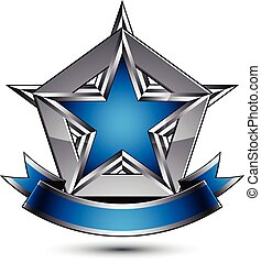 Vector glorious glossy design element, luxury blue 3d star...
