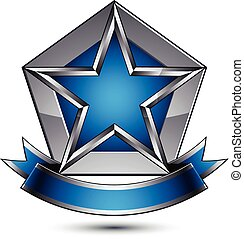Vector glorious glossy design element, luxury blue 3d star with silver outline, conceptual graphic template, clear EPS 8 gray decorative symbol.