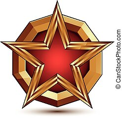 Vector glorious glossy design element, luxury 3d red star with golden borders, classic conceptual graphic insignia, clear EPS 8.