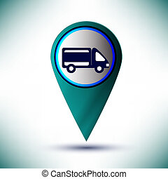 vector glossy Car Icon Button design element on a blue background.