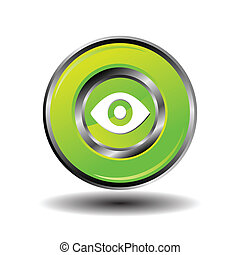 Vector glossy Eye Icon green isolat