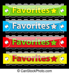 Glossy favorites tag buttons. Vector illustration. On black.