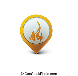 vector glossy fire web icon design element.