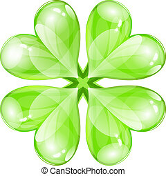 Vector glossy four-leaf clover
