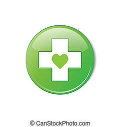 Vector glossy green round heart button.