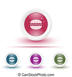 Vector glossy icon or button with burger pictogram