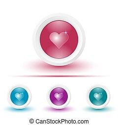 Vector glossy icon or button with heart pictogram