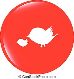 vector Glossy isolated website and internet web icon with bird family sign