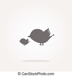vector Glossy isolated website and internet web icon with bird family sign. Web Icon Art. Graphic Icon Drawing