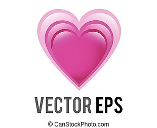 Vector glossy pink love glowing heart icon
