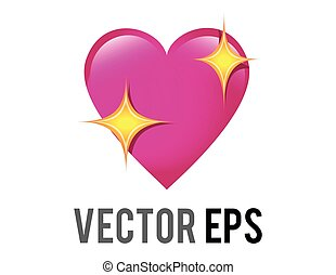 Vector glossy pink love heart icon with sparkling stars, used for expressions of shimmering