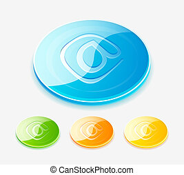 Vector glossy plastic round button