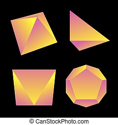 vector glossy platonic solids set