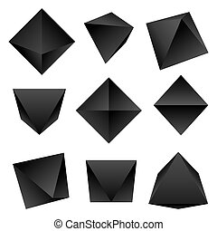 vector glossy platonic solids set - vector gradient black ...