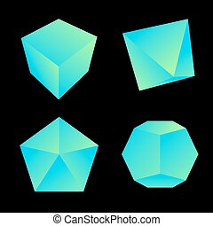 vector glossy platonic solids set - vector green blue ...
