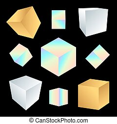 vector glossy platonic solids set - vector various jewelry ...