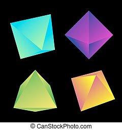 vector glossy platonic solids set - vector vibrant gradient ...