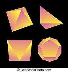 vector glossy platonic solids set - vector yellow violet ...
