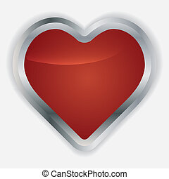 Vector glossy red round heart