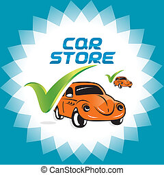 Retro Car Accept Icons - Vector Glossy Retro Car Accept...