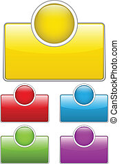 Glossy web buttons with colored boxes.