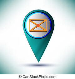 vector glossy web icon email design element on a blue background.