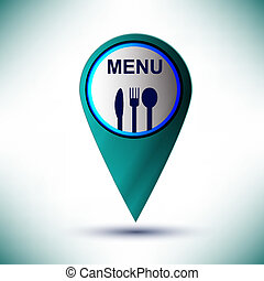 vector glossy web icon restaurant design element on a blue background.