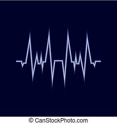 Vector Glowing Amplitude Line, Pulse Neon Icon, Dark Blue Background.