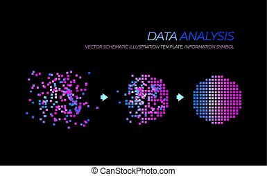 Vector Glowing Big Data Analysis Illustration, Technology Elements Isolated.
