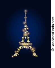 Vector Glowing Golden Eiffel Tower in Paris Silhouette At ...
