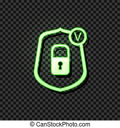 Vector Glowing Icon: Reliable Protection Concept, Lock Icon in Shield with Check Mark, Neon Green Sign on Dark Background.