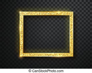 Vector glowing magic square frame. Glowing neon fire wave. Glitter sparkle trail effect on dark transparent background