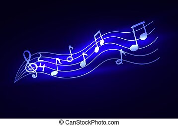 Vector Glowing Music Notes, Magic Lights, Sparkle Illustration Background.