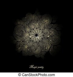 Vector glowing round flower on a black background.