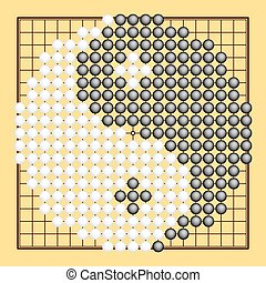 Vector Go game or Weiqi (Chinese board game) with yin yang...