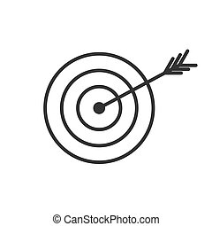 Vector goal icon. The arrow hit the center of the target. Isolated on a white background
