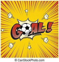 Vector Goal word with football ball in comic book style illustration.
