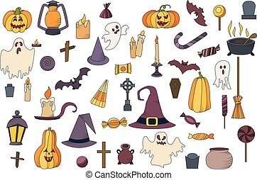 Vector goast, pumpkin, hat icons. Set of hallowen elements. Spooky illustration.