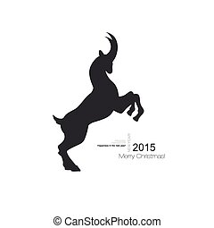 Vector goat symbol with black profile silhouette of a long...