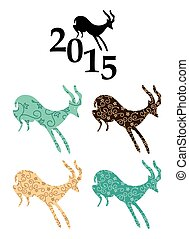 vector goats - chinese 2015 year